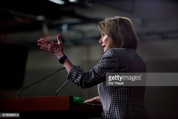 House Minority Leader Nancy Pelosi speaks during her weekly press conference on Capitol Hill May 4 2017 in Washington DC Pelosi spoke ahead of the...