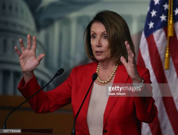 House Minority Leader Nancy Pelosi speaks to the media during her weekly news conference at the US Capitol on September 6 2018 in Washington DC