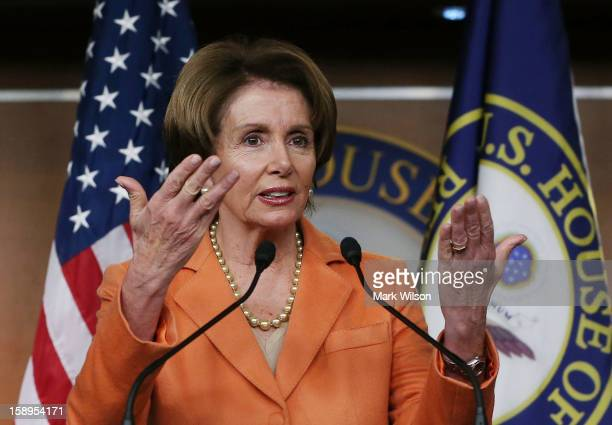 House Minority Leader Nancy Pelosi speaks to the media during her weekly news conference on January 4 2013 in Washington DC Pelosi spoke about the...