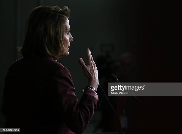 House Minority Leader Nancy Pelosi speaks to the media during her weekly news conference at the US Capitol December 11 2015 in Washington DC Pelosi...
