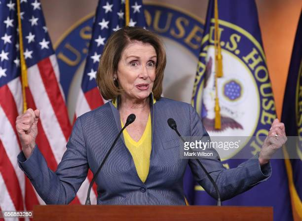 House Minority Leader Nancy Pelosi speaks to the media during her weekly news conference on Capitol Hill March 23 2017 in Washington DC House...