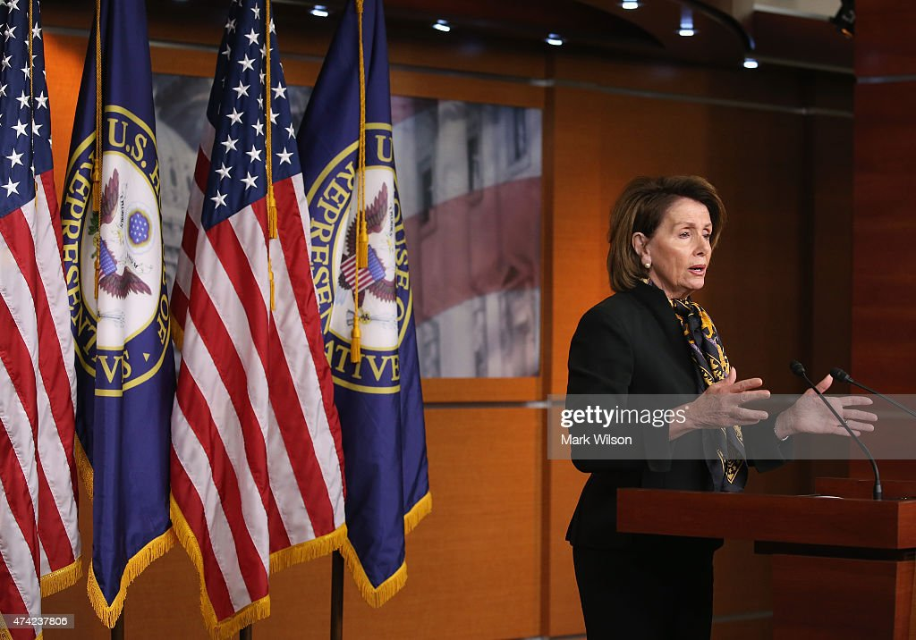 House Minority Leader Nancy Pelosi (D-CA) speaks to the media on Capitol Hill May 21, 2015 in Washington, DC. Pelosi spoke about issues before Congress during her weekly news conference.