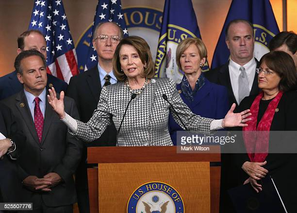 House Minority Leader Nancy Pelosi speaks while flanked by House Democrats during a news conference to discuss HR3185 the Equity Act which would...