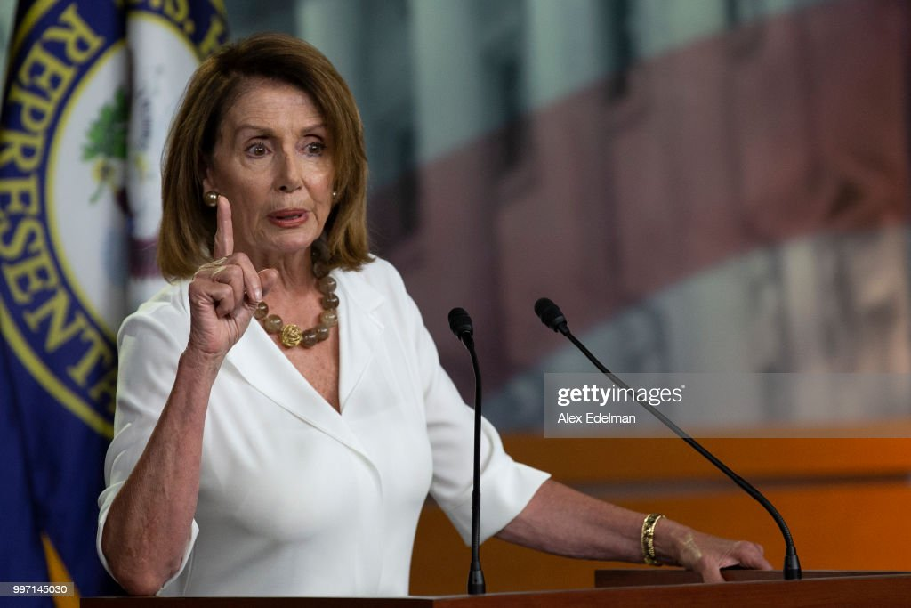 House Minority Leader Nancy Pelosi (D-CA) speaks with reporters during her weekly press conference at the Capitol on July 12, 2018 in Washington, DC.