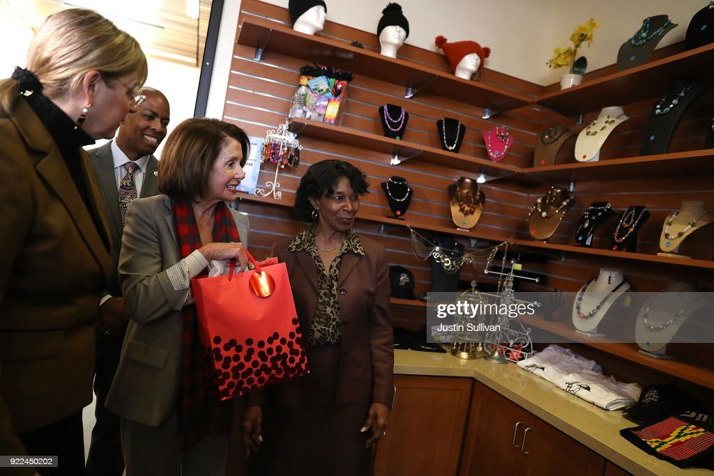 House Minority Leader Nancy Pelosi (C) tours the Dr. George W. Davis Senior Center before speaking at a press conference on February 21, 2018 in San Francisco, California. House Minority Leader Nancy Pelosi discussed the consequences of the Tax Cuts and Jobs Act on working families and senior citizens after touring the Dr. George W. Davis Senior Center.