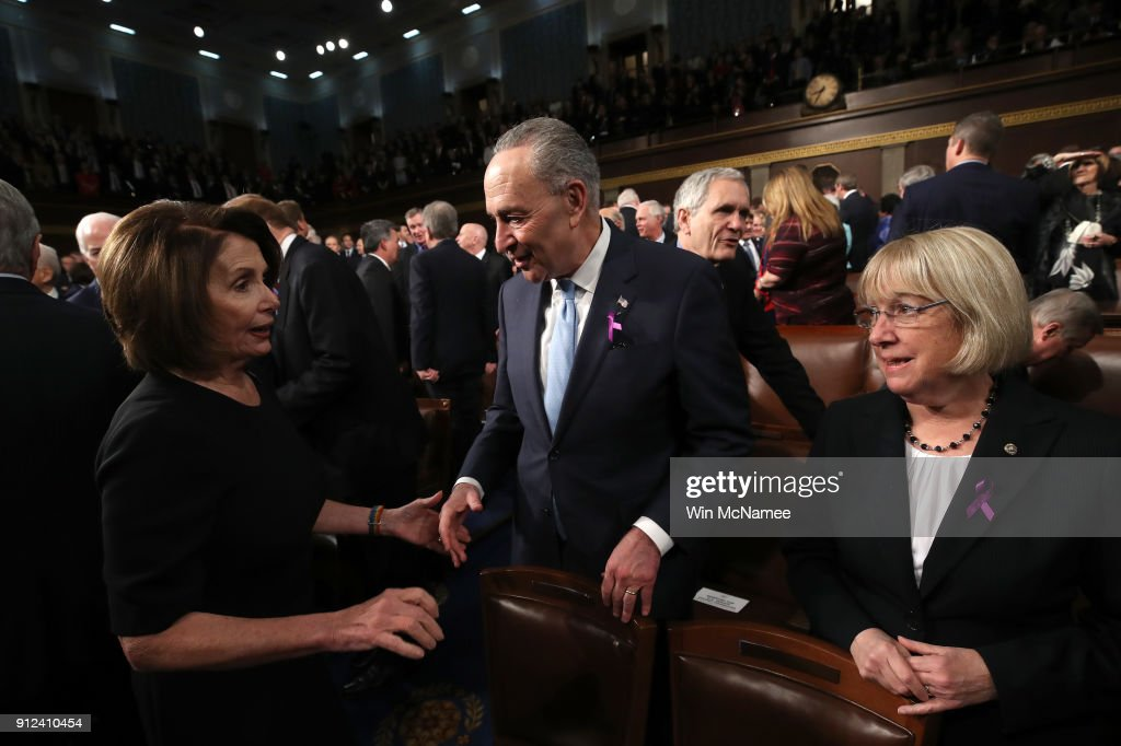U.S. House Minority Leader Nancy Pelosi (D-CA), U.S. Sen Chuck Schumer (D-NY), Patty Murray (D-WA) during the State of the Union address in the chamber of the U.S. House of Representatives January 30, 2018 in Washington, DC. This is the first State of the Union address given by U.S. President Donald Trump and his second joint-session address to Congress.