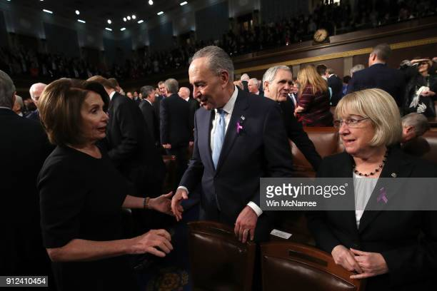 US House Minority Leader Nancy Pelosi US Sen Chuck Schumer Patty Murray during the State of the Union address in the chamber of the US House of...