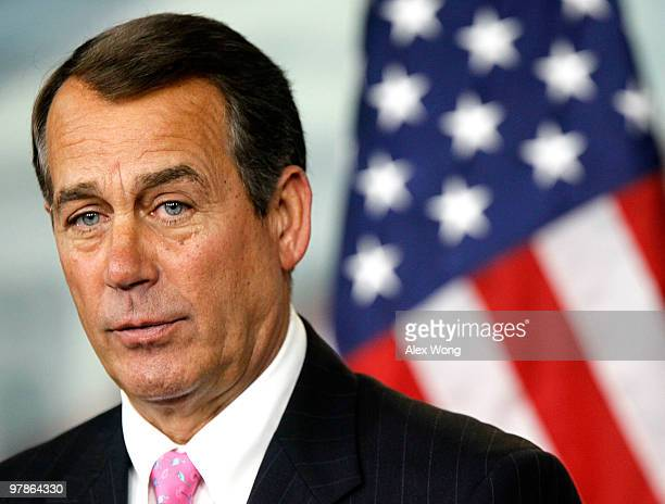S House Minority Leader Rep John Boehner speaks during a news conference March 19 2010 on Capitol Hill in Washington DC Boehner said he will try his...