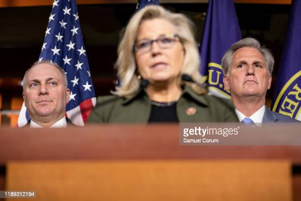 House Minority Leader Rep. Kevin McCarthy and Republican Whip Rep. Steve Scalise listen as Republican Conference Chairman Rep. Liz Cheney speaks...