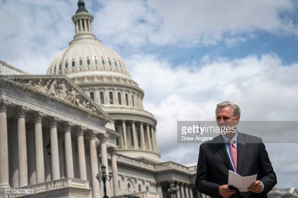 House Minority Leader Rep. Kevin McCarthy arrives for a news conference outside the U.S. Capitol, May 27, 2020 in Washington, DC. Calling it...