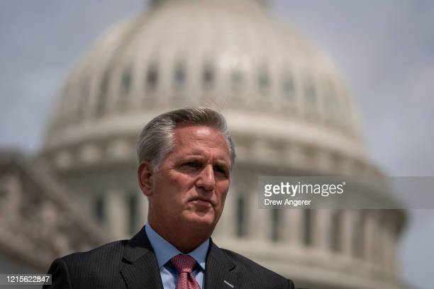 House Minority Leader Rep. Kevin McCarthy attends a news conference outside the U.S. Capitol, May 27, 2020 in Washington, DC. Calling it...