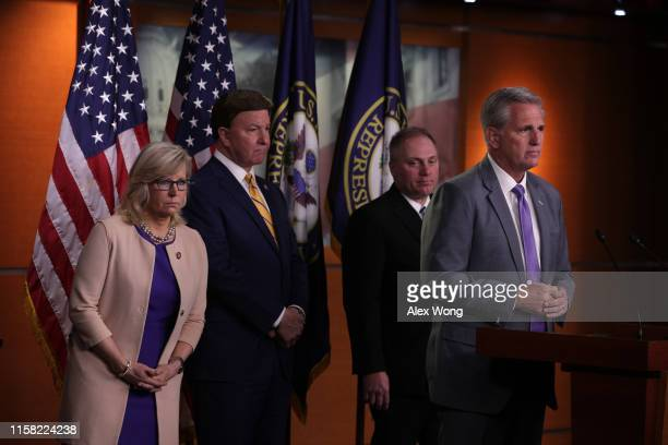US House Minority Leader Rep Kevin McCarthy speaks as House Minority Whip Rep Steve Scalise Rep Mike Rogers and Rep Liz Cheney listen during a news...