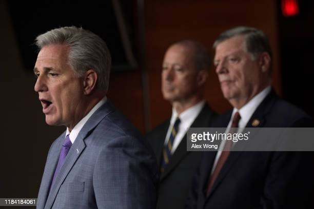 House Minority Leader Rep. Kevin McCarthy speaks as Rep. Mac Thornberry , and Rep. Tom Cole listens during a news conference October 29, 2019 at the...