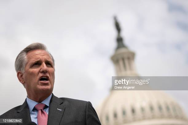 House Minority Leader Rep. Kevin McCarthy speaks during a news conference outside the U.S. Capitol, May 27, 2020 in Washington, DC. Calling it...