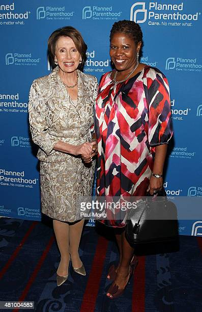 S House Minority Leader Rep Nancy Pelosi and BET's Sonya Lockett attend the Planned Parenthood Federation Of America's 2014 Gala Awards Dinner at the...
