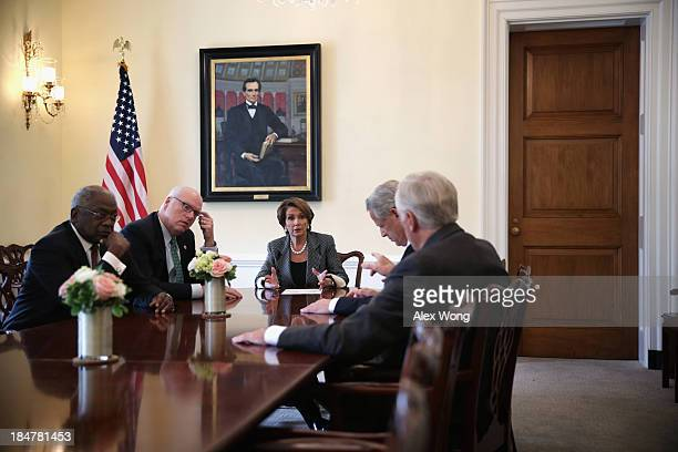 S House Minority Leader Rep Nancy Pelosi and Minority Whip Rep Steny Hoyer discuss as Vice Chair of the House Democratic Caucus Rep Joseph Crowley...