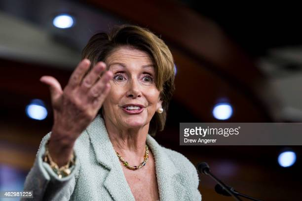 House Minority Leader Rep Nancy Pelosi answers a question during her weekly news conference on Capitol Hill January 16 2014 in Washington DC Pelosi...