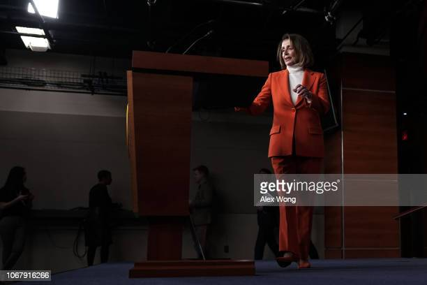 S House Minority Leader Rep Nancy Pelosi approaches the podium for a weekly news conference November 15 2018 on Capitol Hill in Washington DC Pelosi...