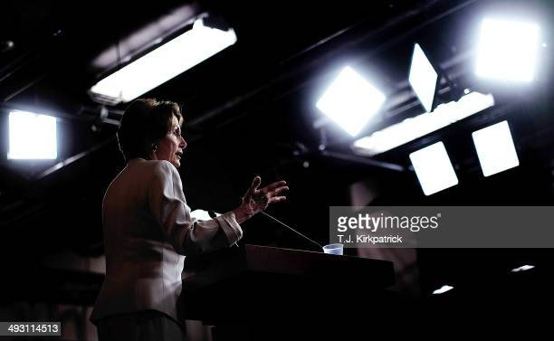 House Minority Leader Rep Nancy Pelosi holds her weekly news conference at the US Capitol on May 22 2014 in Washington DC Pelosi criticized...