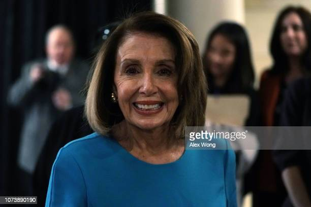 S House Minority Leader Rep Nancy Pelosi leaves after a session of House Democrats organizational meeting to elect leadership at the Capitol Visitor...
