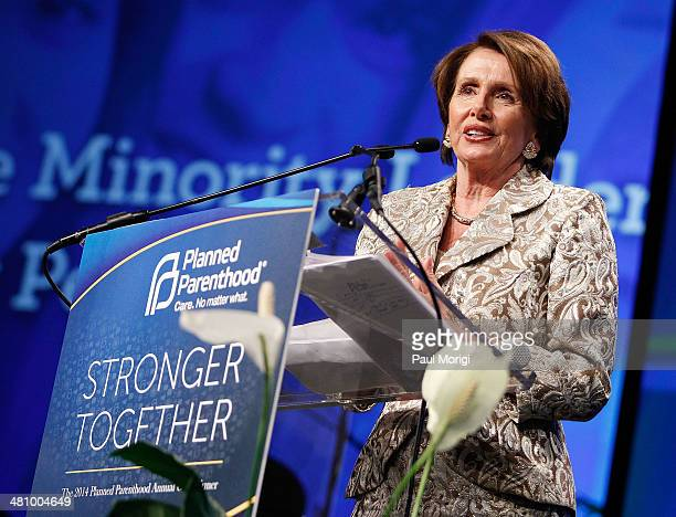 S House Minority Leader Rep Nancy Pelosi makes a few remarks after receiving the Margaret Sanger Award at the Planned Parenthood Federation Of...