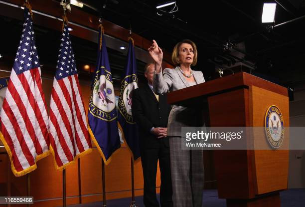 House Minority Leader Rep Nancy Pelosi responds to questions from reporters on the reported resignation of Rep Anthony Weiner June 16 2011 in...