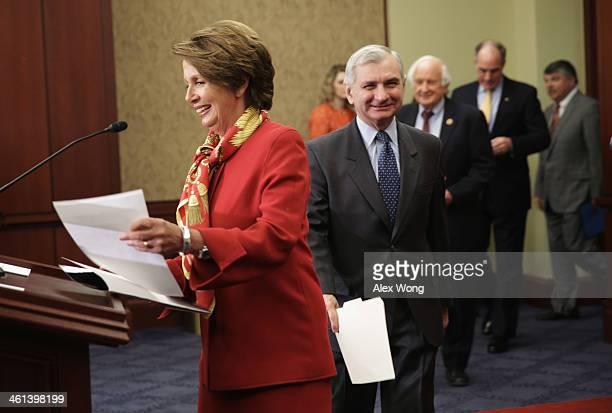 US House Minority Leader Rep Nancy Pelosi Sen Jack Reed Rep Sander Levin Sen Bob Casey and AFLCIO President Richard Trumka arrive at a news...