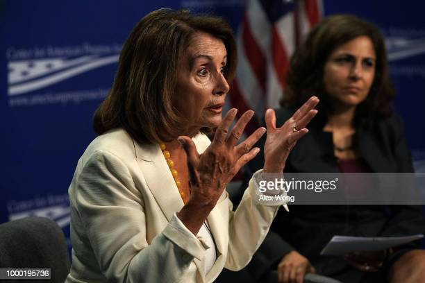 S House Minority Leader Rep Nancy Pelosi speaks as CEO of Center for American Progress Action Fund Neera Tanden listens during a discussion at Center...