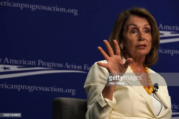 S House Minority Leader Rep Nancy Pelosi speaks during a discussion at Center for American Progress Action Fund July 16 2018 in Washington DC Pelosi...