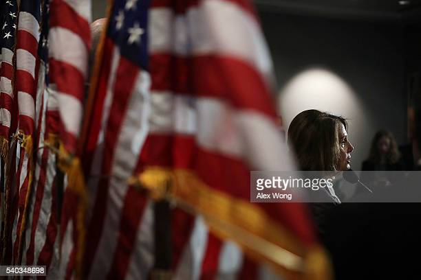 House Minority Leader Rep. Nancy Pelosi speaks during a news briefing after a caucus meeting June 15, 2016 on Capitol Hill in Washington, DC. House...