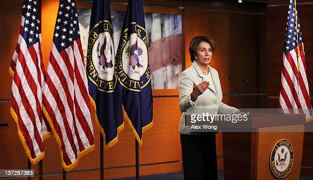 S House Minority Leader Rep Nancy Pelosi speaks during a news conference January 18 2012 on Capitol Hill in Washington DC Pelosi discussed on various...
