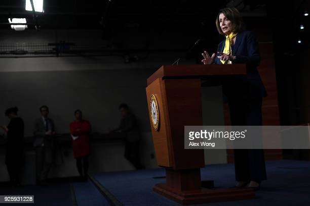 S House Minority Leader Rep Nancy Pelosi speaks during a weekly news conference March 1 2018 on Capitol Hill in Washington DC Pelosi held a weekly...