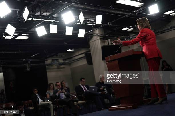 S House Minority Leader Rep Nancy Pelosi speaks during a weekly news conference June 7 2018 on Capitol Hill in Washington DC Pelosi held her weekly...