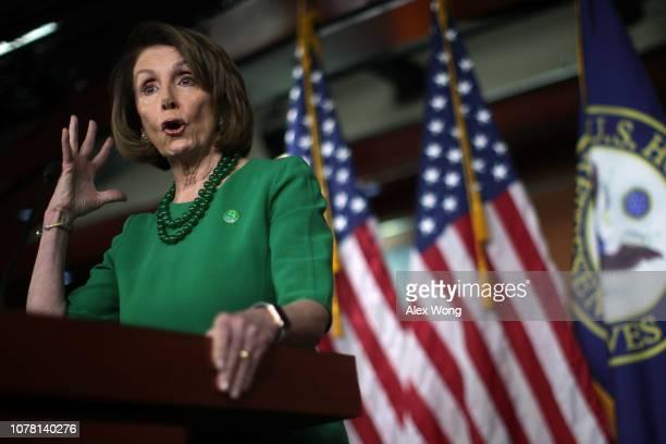 S House Minority Leader Rep Nancy Pelosi speaks during her weekly news conference December 6 2018 in Washington DC Pelosi held her weekly news...