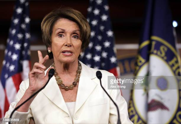 S House Minority Leader Rep Nancy Pelosi speaks during her weekly news conference June 21 2012 on Capitol Hill in Washington DC Pelosi discussed...