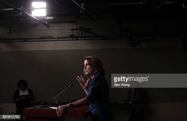 S House Minority Leader Rep Nancy Pelosi speaks during her weekly news conference at the Capitol January 13 2017 in Washington DC Pelosi held her...