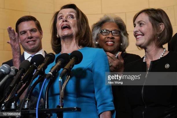 S House Minority Leader Rep Nancy Pelosi speaks to members of the media as Rep Eric Swalwell Rep Joyce Beatty Rep Kathy Castor listen at the lobby of...