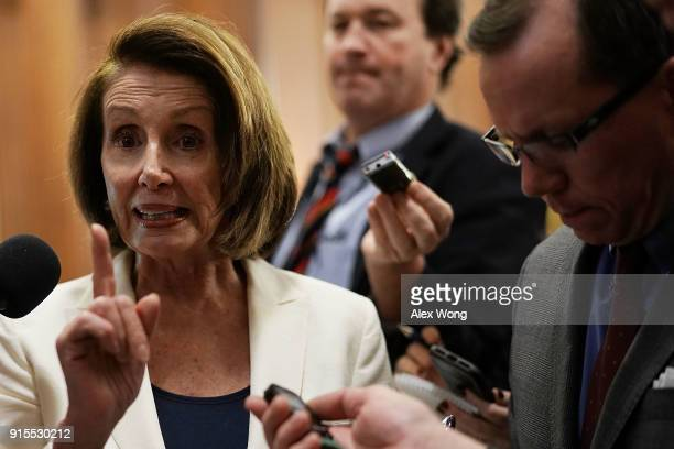 S House Minority Leader Rep Nancy Pelosi speaks to members of the media after her 8hour long speech on immigration at the Capitol February 7 2018 in...