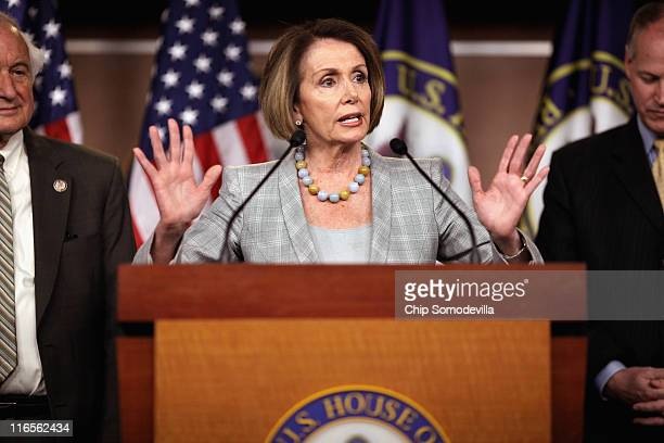 House Minority Leader Rep Nancy Pelosi talks to reporters during her weekly news conference at the US Capitol Visitors Center June 16 2011 in...