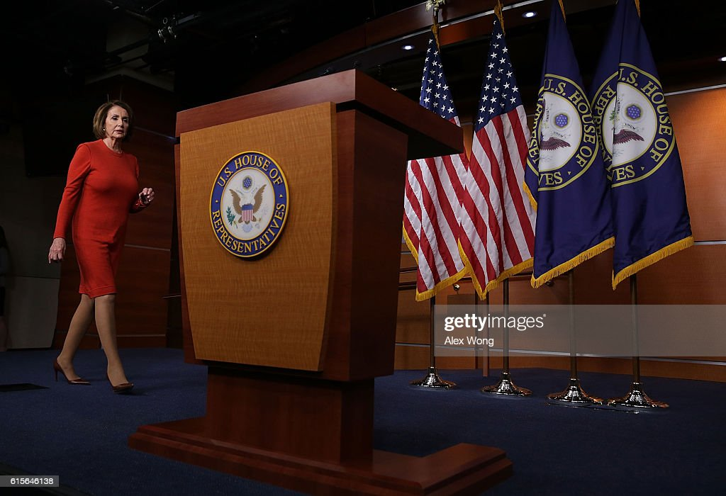U.S. House Minority Leader Rep. Nancy Pelosi (D-CA) walks towards the podium to speak to members of the media on Capitol Hill October 19, 2016 in Washington, DC. Pelosi held her weekly news conference to answer questions from the media.