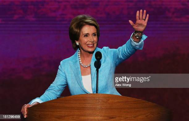 House Minority Leader Sen Nancy Pelosi takes the stage during day two of the Democratic National Convention at Time Warner Cable Arena on September 5...