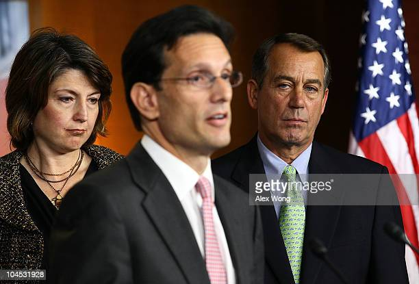 S House Minority Whip Rep Eric Cantor speaks as Minority Leader Rep John Boehner and Rep Cathy McMorris Rodgers listen during a news conference...