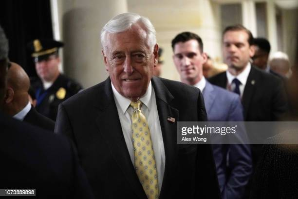 S House Minority Whip Rep Steny Hoyer leaves after a session of House Democrats organizational meeting to elect leadership at the Capitol Visitor...
