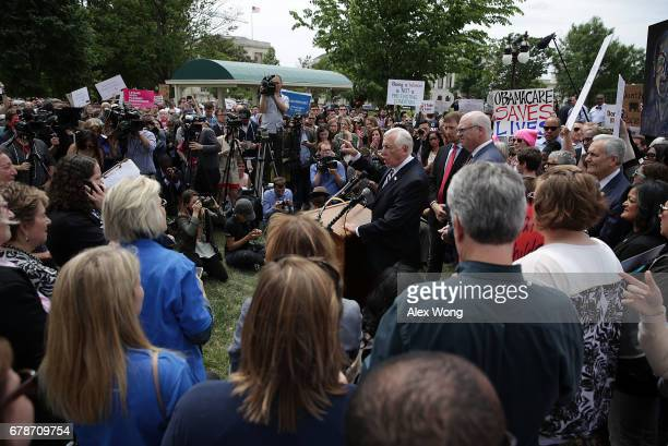 S House Minority Whip Rep Steny Hoyer speaks during a Stop 'Trumpcare' rally May 4 2017 in front of the Capitol in Washington DC Congressional...