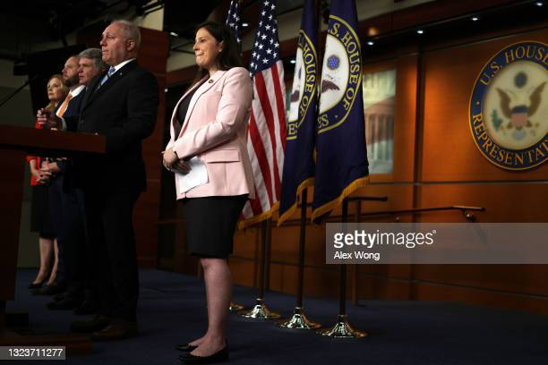 House Minority Whip Rep. Steve Scalise speaks as Rep. Ashley Hinson , Rep. Jason Smith , Rep Michael McCaul and House Republican Conference Chair...