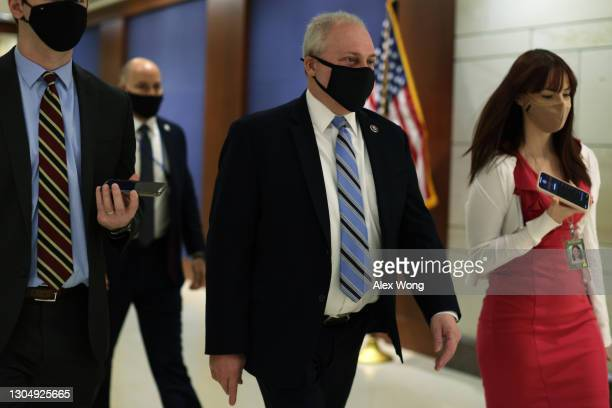 House Minority Whip Rep. Steven Scalise leaves after a House Republican Conference meeting at the U.S. Capitol March 2, 2021 in Washington, DC....