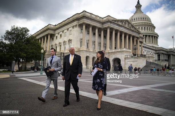 House Minority Whip Steny Hoyer a Democrat from Maryland center arrives to a news conference on the longterm effects of separating children from...