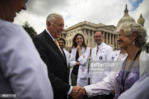 House Minority Whip Steny Hoyer a Democrat from Maryland greets healthcare professionals and students before a news conference on the longterm...