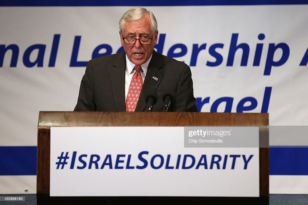 House Minority Whip Steny Hoyer (D-MD) addresses Jewish organizational and community leaders during the 'National Leadership Assembly for Israel' at the National Press Club July 28, 2014 in Washington, DC. Organized by the Conference of Presidents of Major American Jewish Organizations, the event was addressed by Obama Administration officials and both Republican and Democratic members of Congress who attended the rally as a 'show of solidarity with the people and state of Israel.' Despite international calls for a ceasefire, Israel and Hamas continue to battle in and around the Gaza Strip, where 1,000 people have been killed since the violence started 21 days ago.