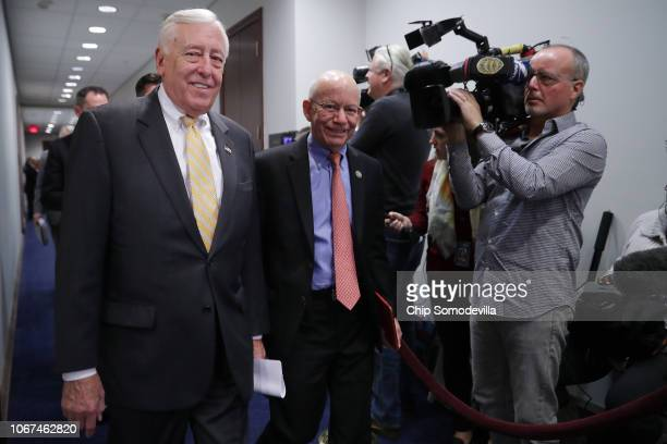 House Minority Whip Steny Hoyer and Rep Peter DeFazio arrive for a Democratic caucus meeting in the US Capitol Visitors Center November 14 2018 in...
